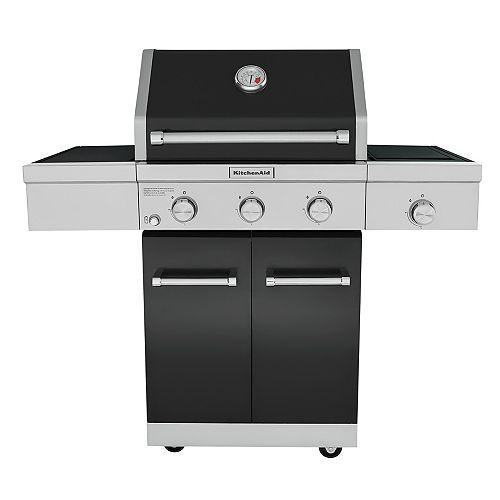 KitchenAid 3-Burner Outdoor Propane BBQ with Ceramic Infrared Sear Burner in Black