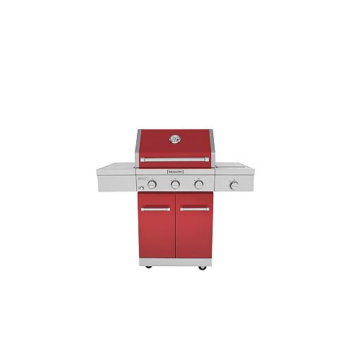 KitchenAid 3-Burner Outdoor Propane BBQ with Ceramic Infrared Sear Burner in Red