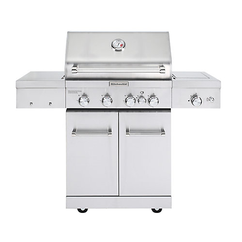 4-Burner Outdoor Propane BBQ with Sear Burner and Rotisserie Burner