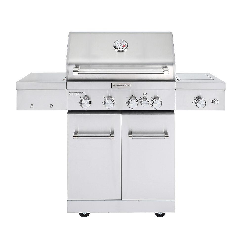 KitchenAid Barbecue au propane à 4 brûleurs, brûleur latéral en céramique, brûleur à rôtisserie, acier inox.