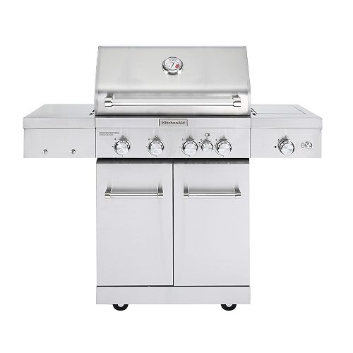 KitchenAid 4-Burner Propane BBQ in Stainless Steel with Ceramic Searing Side  Burner and Rotisserie Burner