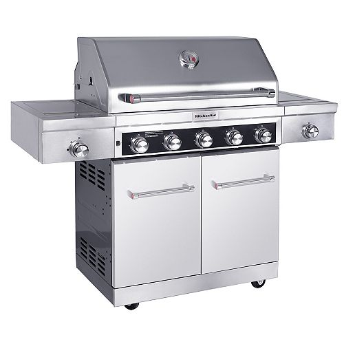 KitchenAid 5-Burner Propane BBQ in Stainless Steel with Sear and Side Burners with Cover