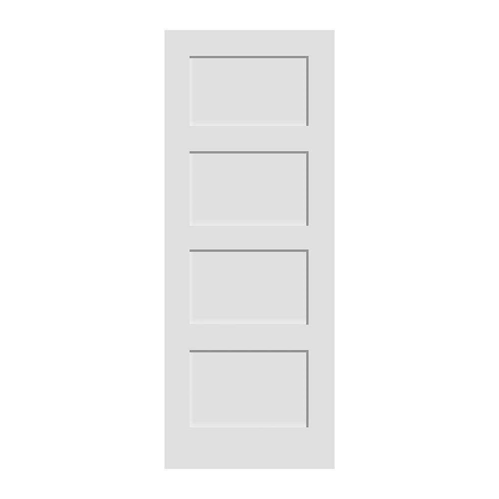 Milette 34x80 Porte 4 panneaux en apprêt blanc de style shaker