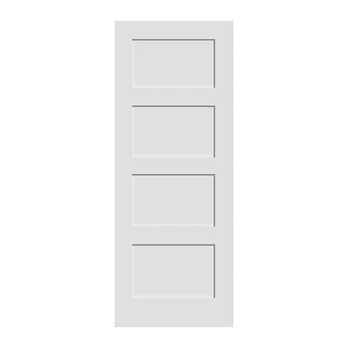 36x80 Porte 4 panneaux en apprêt blanc de style shaker