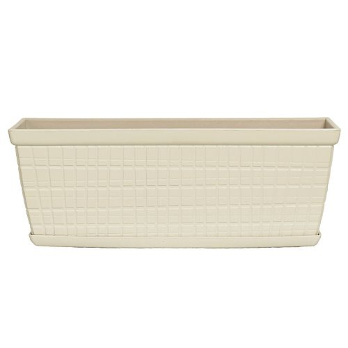 HDG Adelyn 13-inch Plastic Windowbox Planter with Saucer in Glossy White