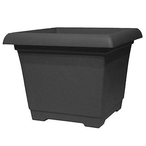 Leonardo 15-inch Square Plastic Planter in Black