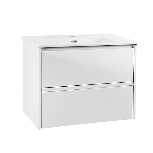 Cotherstone 30-inch 2-Drawer Wall Mounted Vanity in White with White Top and Basin