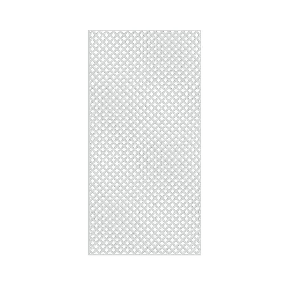 Barrette 4 ft. x 8 ft. Diamond Privacy Vinyl White Lattice