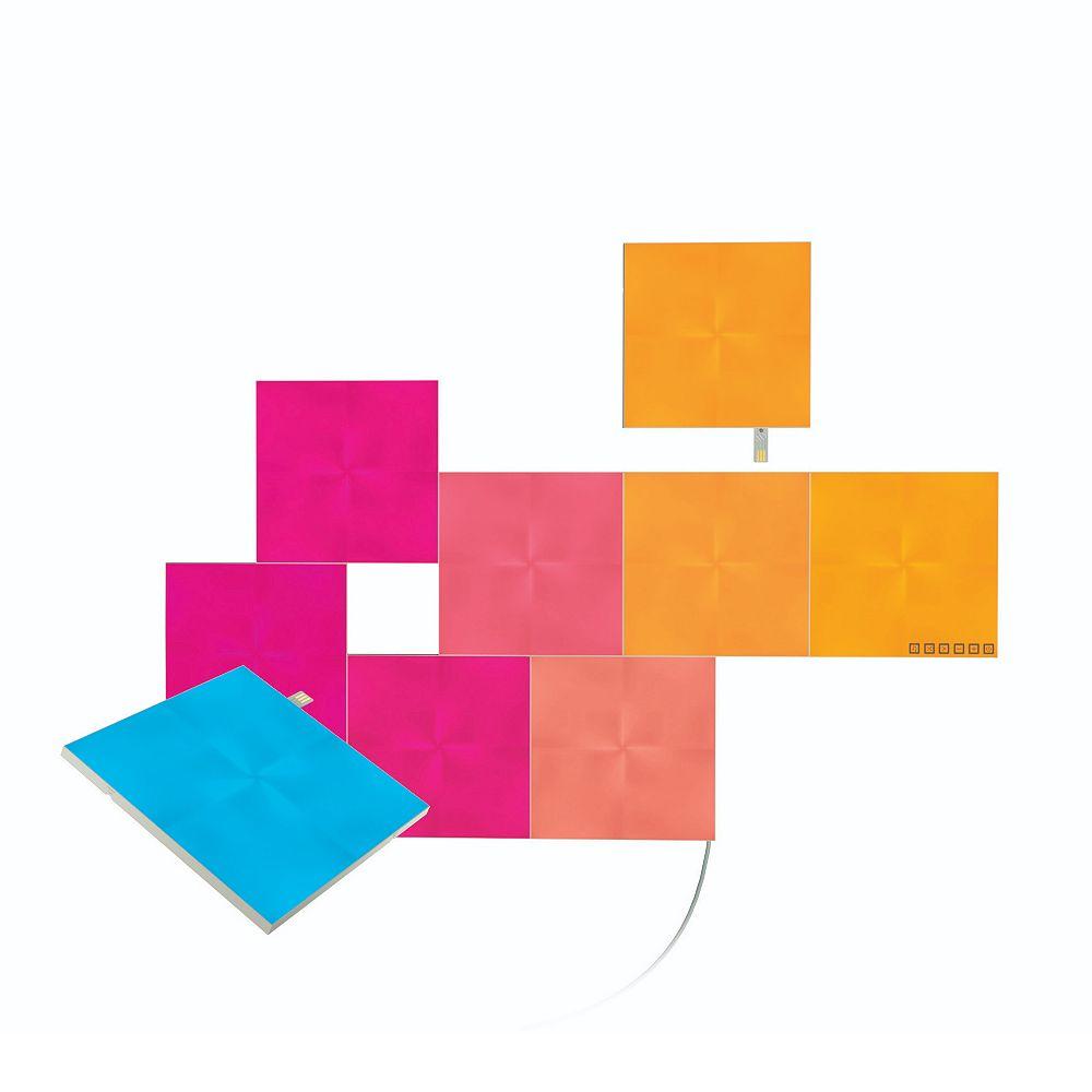 Nanoleaf Panneaux lumineux multicolores à DEL Canvas modulaires de forme carrée, ens. de 9