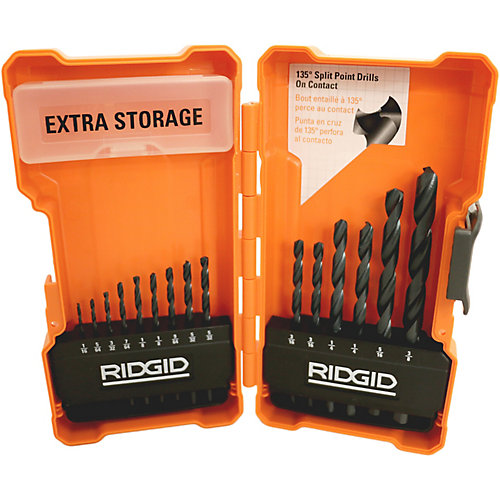 Set of black oxide drill bits (15 pieces)
