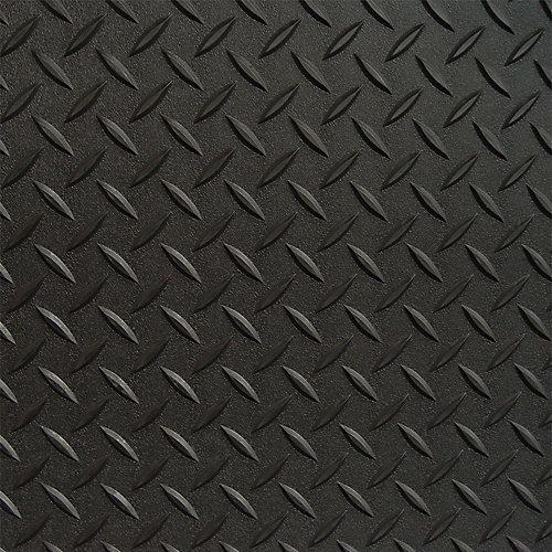 3 ft. x 5 ft. Black Textured Diamond Pattern PVC Garage Flooring (Covers 15 sq.ft.)