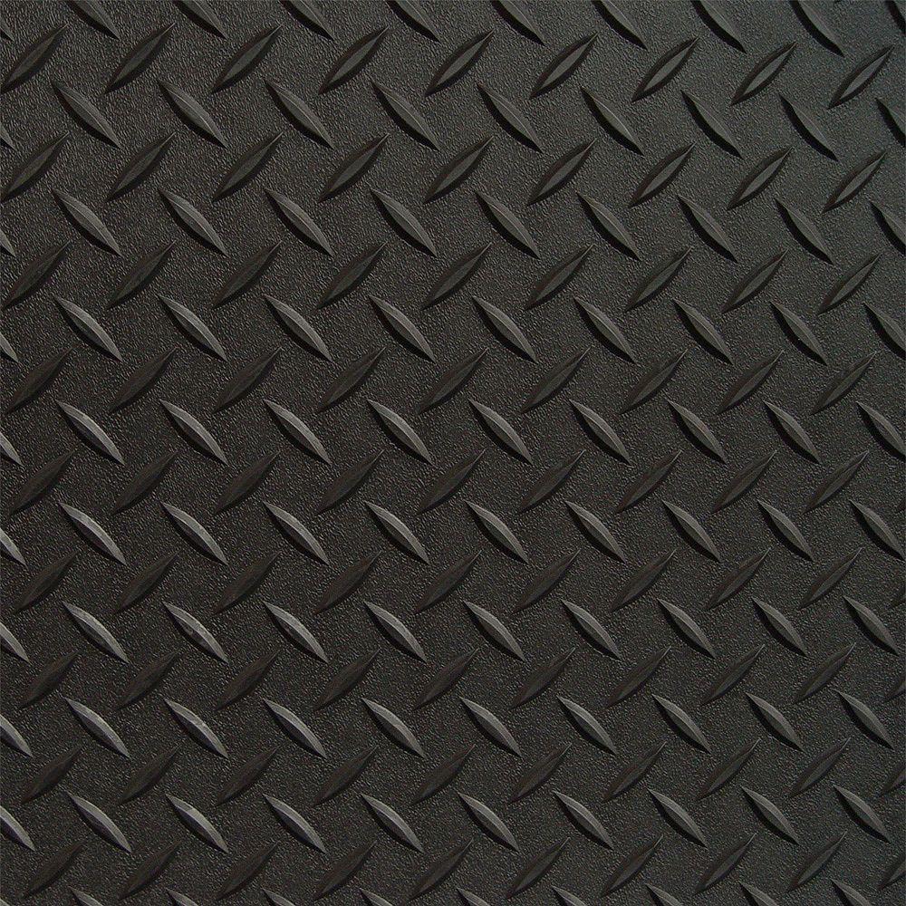 RoughTex Revêtement de plancher de garage en PVC noir à motif diamant 3 pi x 5 pi, (couvre 15 pi. ca.)