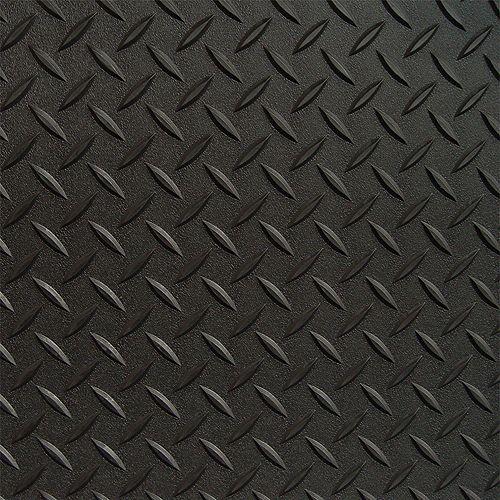 Revêtement de plancher de garage en PVC noir à motif diamant 3 pi x 5 pi, (couvre 15 pi. ca.)