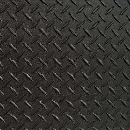 5 ft. x 9 ft. Black Textured Diamond Pattern PVC Garage Flooring (Covers 45 sq.ft.)