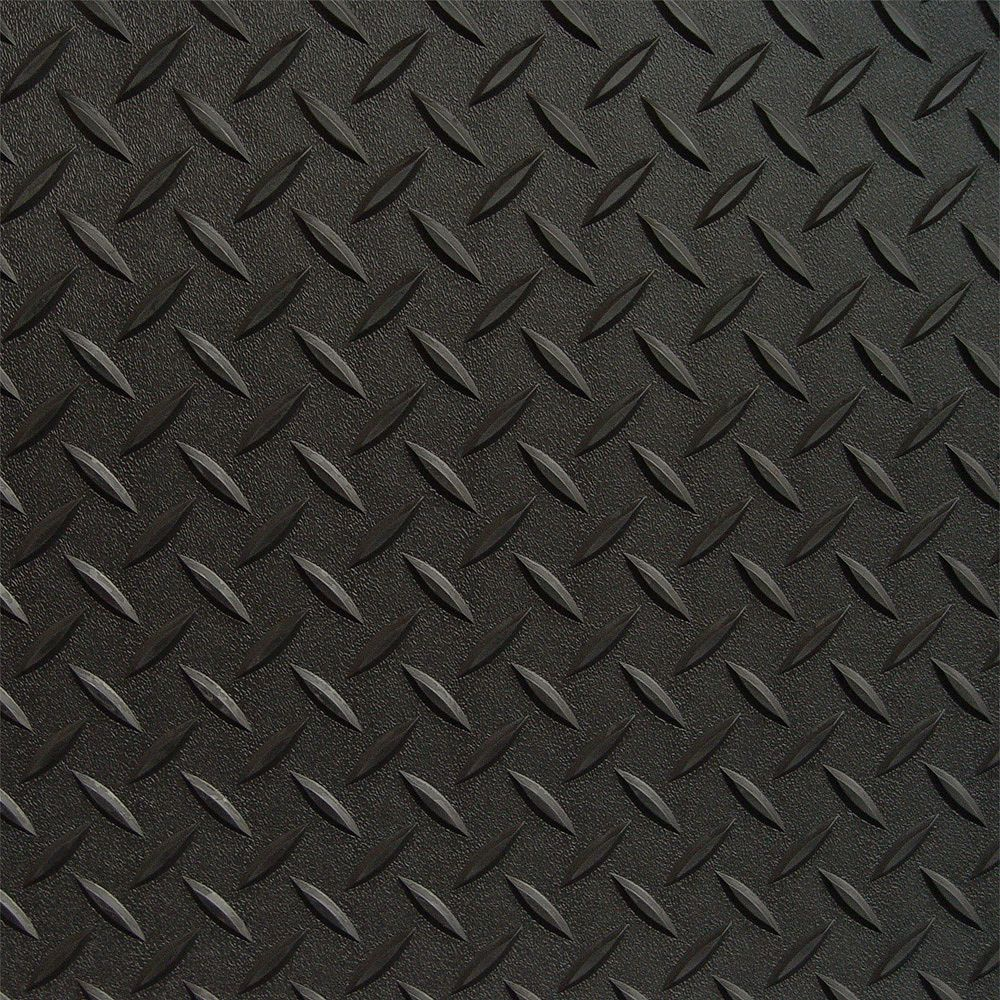 RoughTex Revêtement de plancher de garage en PVCnoir à motif diamant 5 pi x 20 pi, (couvre 100 pi. ca.)