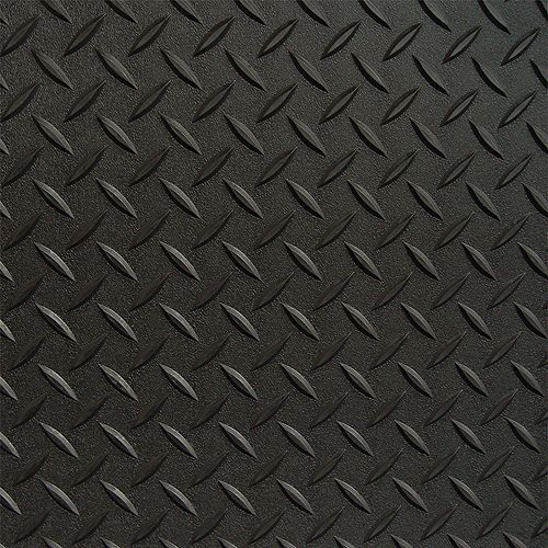 Revêtement de plancher de garage en PVC noir à motif diamant 7,5 pi x 22 pi, (couvre 165 pi. ca.)