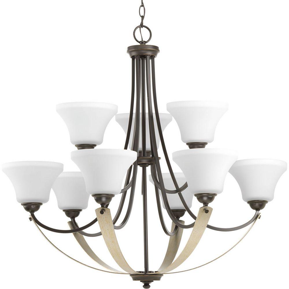 Progress Lighting Noma Nine-light, two-tier chandelier
