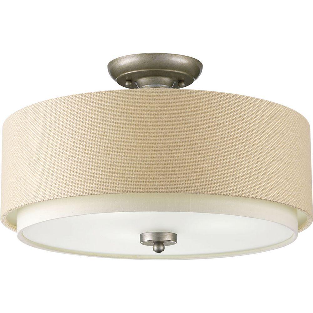 Progress Lighting Ashbury Three-light Semi-Flush with Fabric Shade