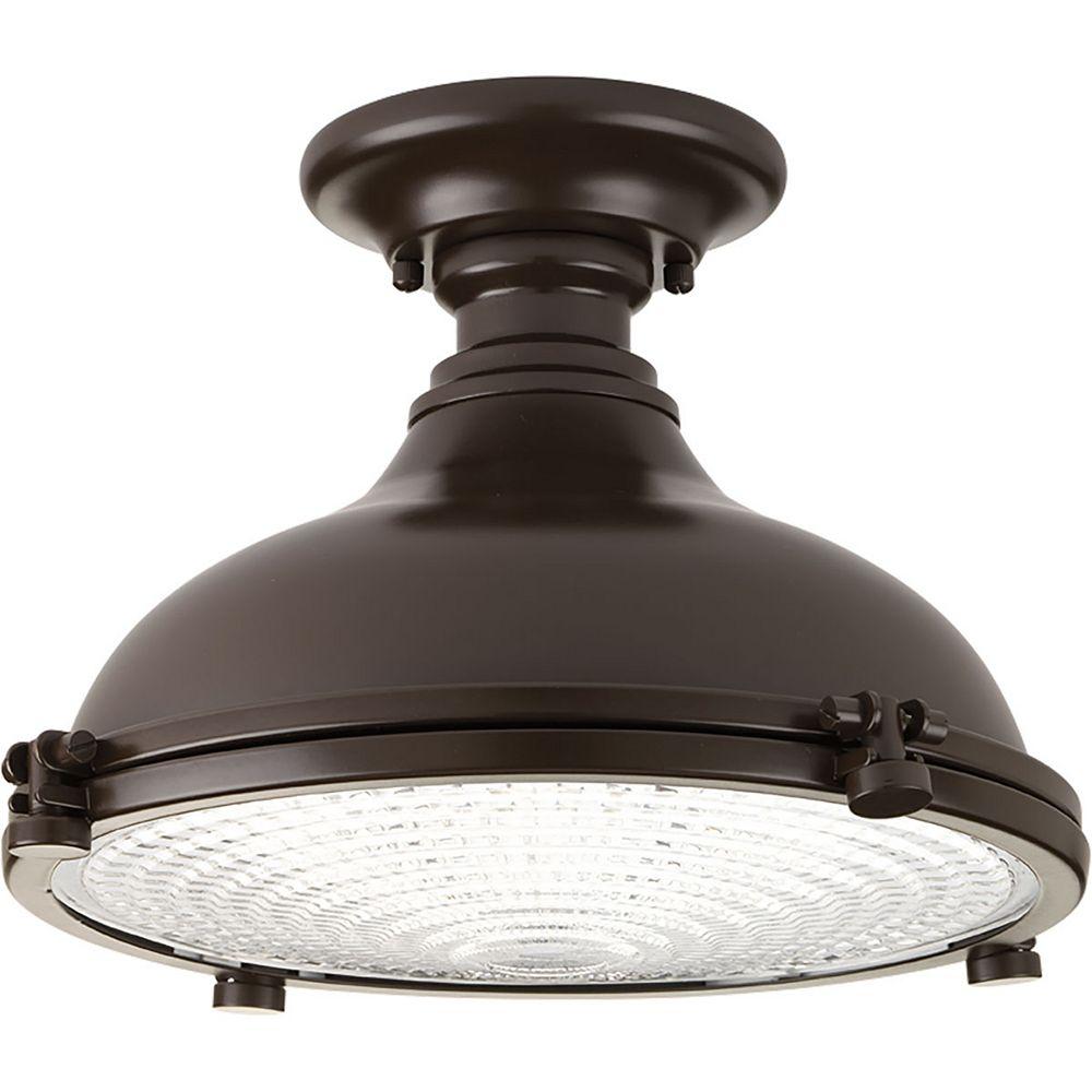 Progress Lighting Fresnel Lens 1-light LED Semi-Flush Light Fixture