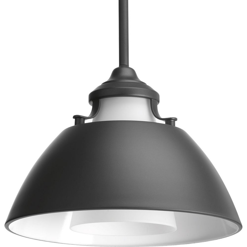 Progress Lighting Carbon One-light Pendant with Metal Shade 11 inch