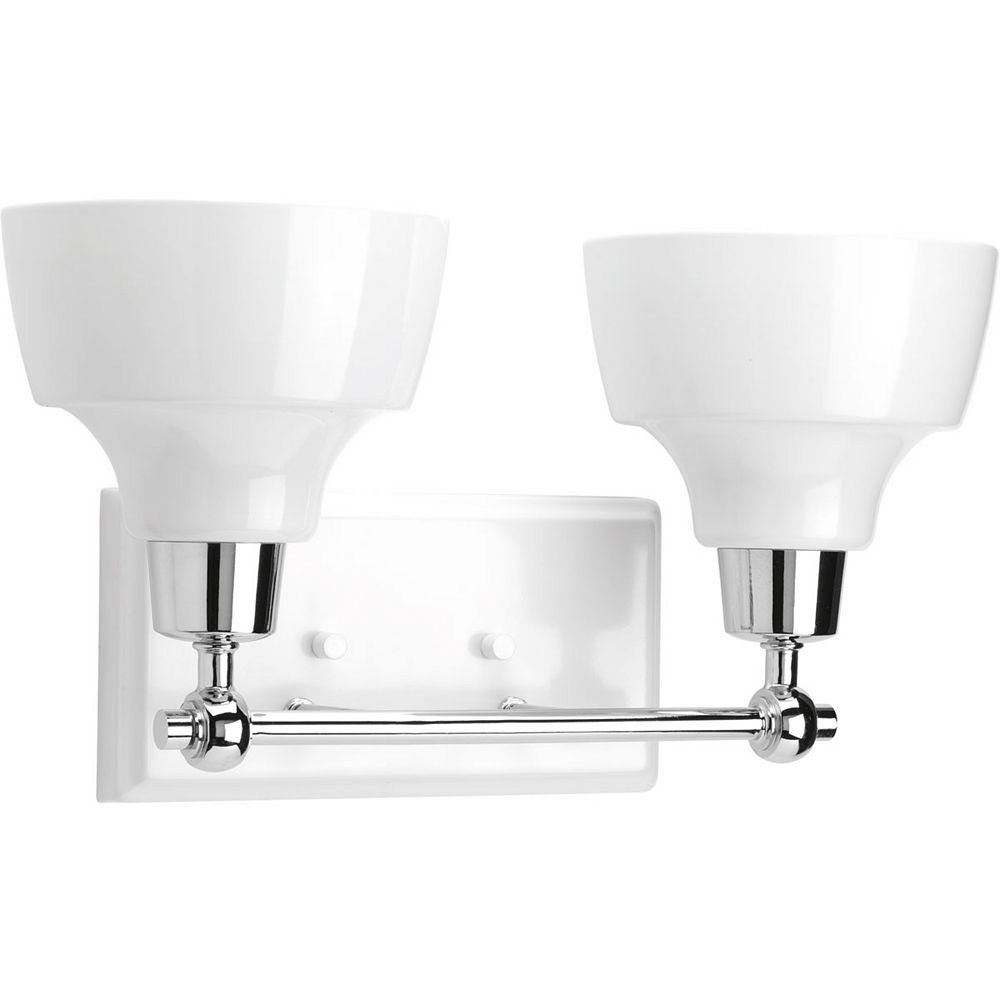 Progress Lighting Luminaire de salle de bain à 2 lumières, collection Bramlett - fini chrome poli
