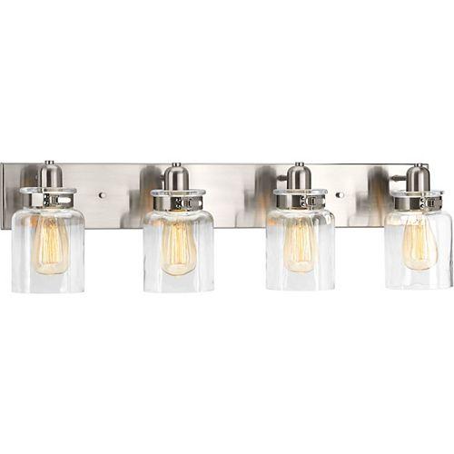 Progress Lighting Luminaire de salle de bain à 4 lumières, collection Calhoun - fini nickel brossé