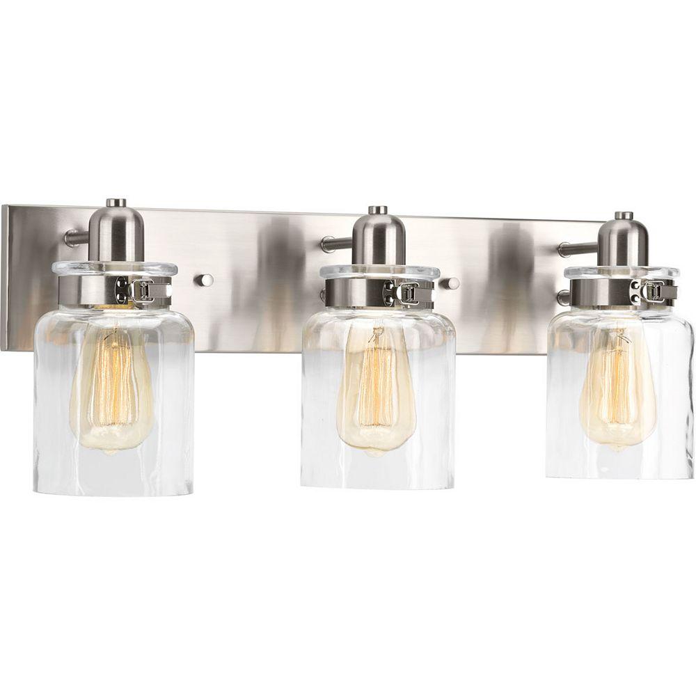 Progress Lighting Luminaire de salle de bain à 3 lumières, collection Calhoun - fini nickel brossé