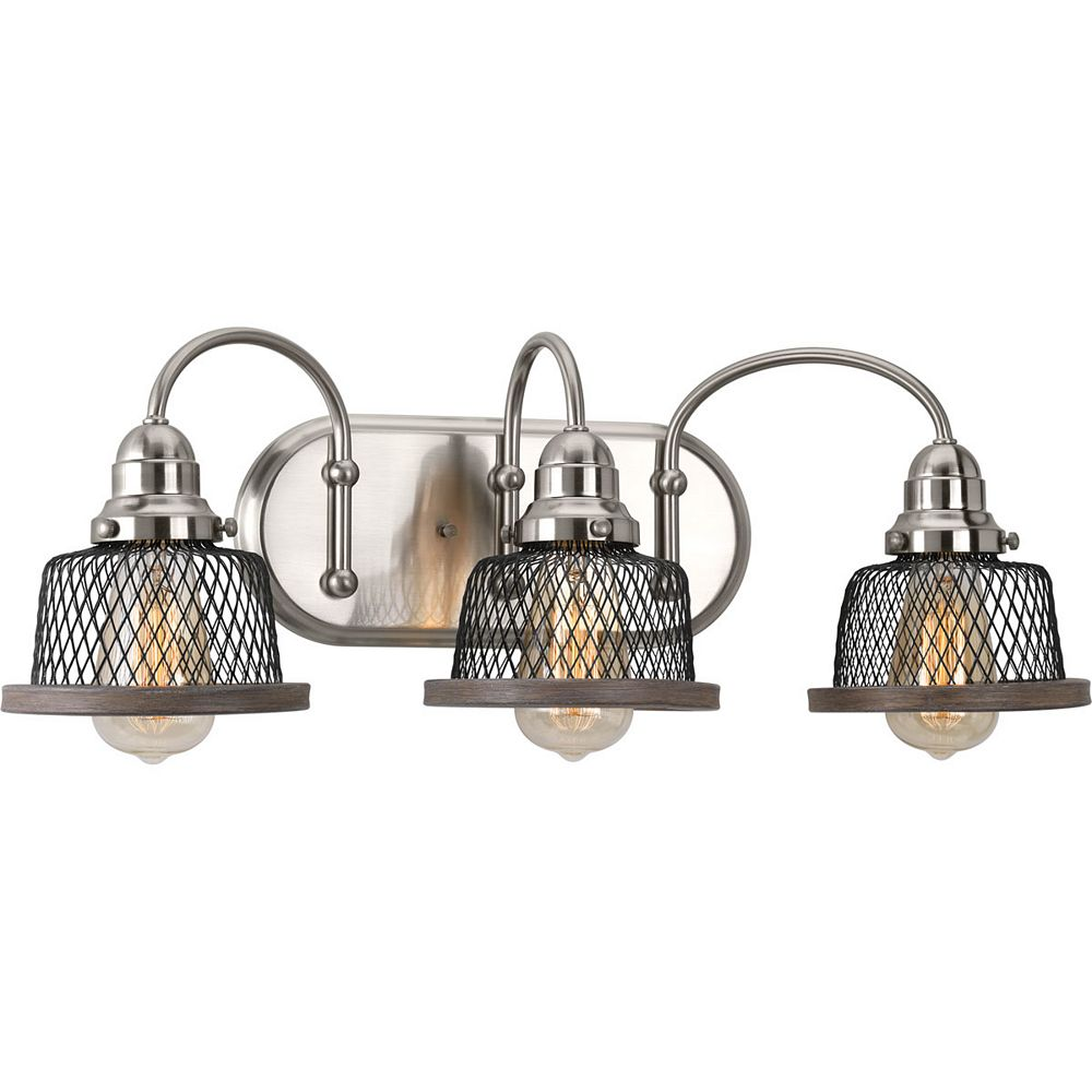 Progress Lighting Tilley Collection 3-Light Brushed Nickel Bath Light