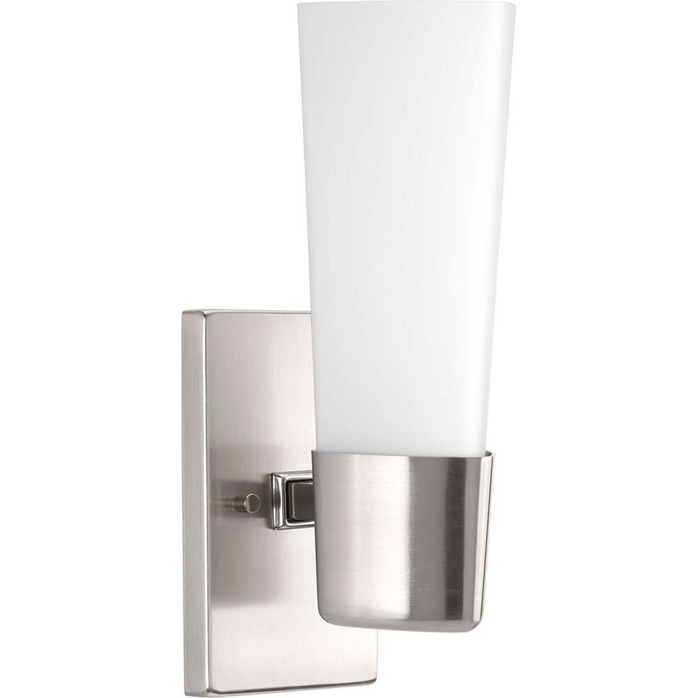 Progress Lighting Zura Collection 1-Light Brushed Nickel Bath Light