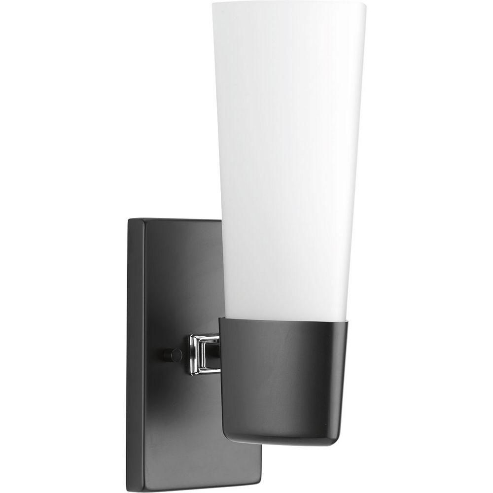 Progress Lighting Zura Collection 1-Light Black Bath Light