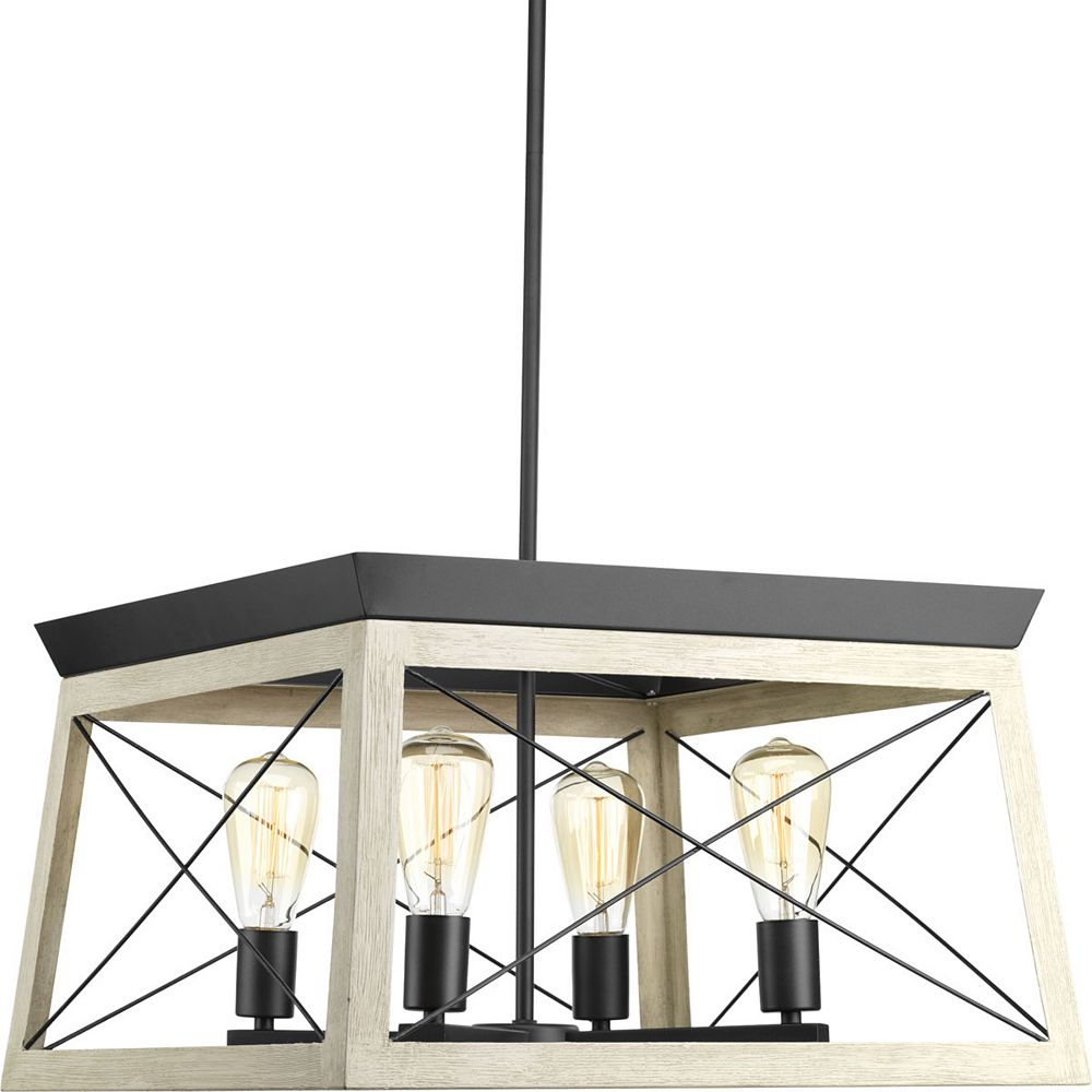Progress Lighting Briarwood Collection 4-Light Graphite Chandelier