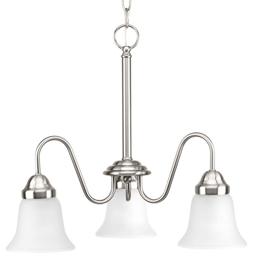 Progress Lighting Lustre à 3 lumières, collection Classic - fini nickel brossé