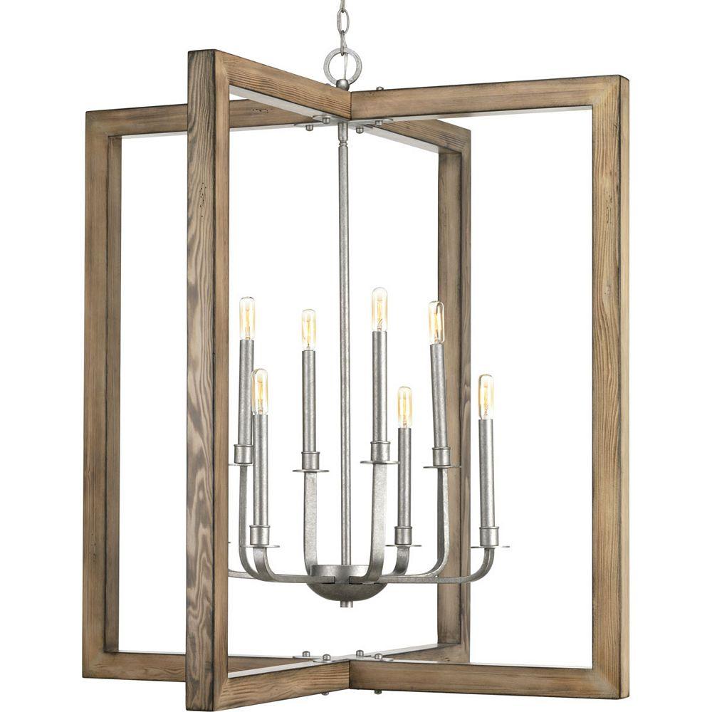 Progress Lighting Lustre à 8 lumières, collection Turnbury - fini galvanisé
