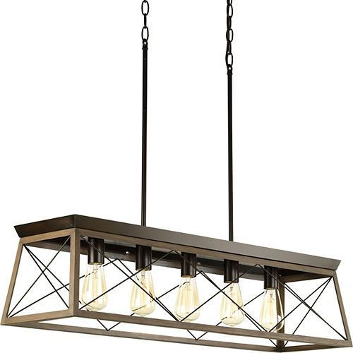 Lustre à 5 lumières, collection Briarwood - fini bronze antique
