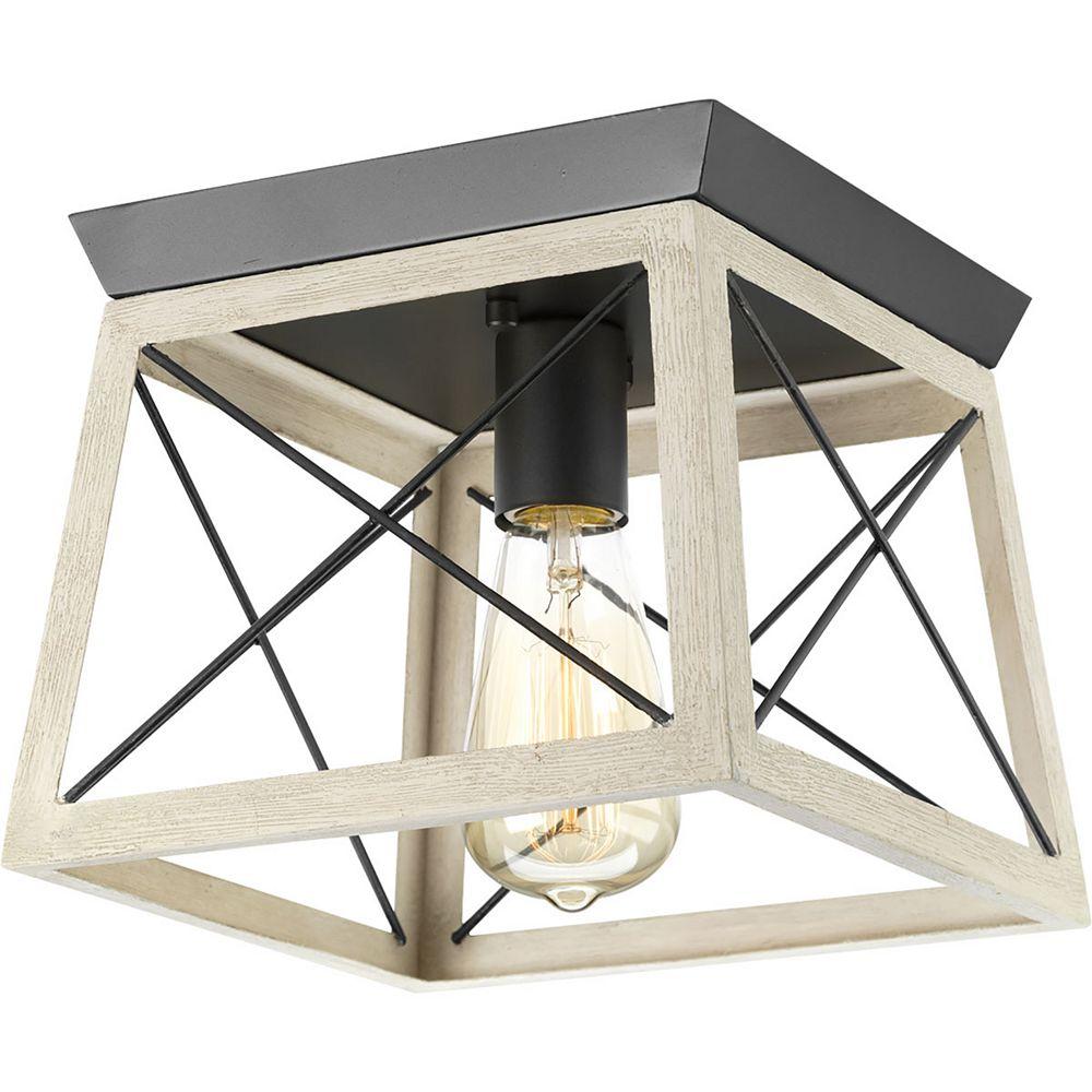 Progress Lighting Briarwood Collection 1-Light Graphite Flushmount Light Fixture