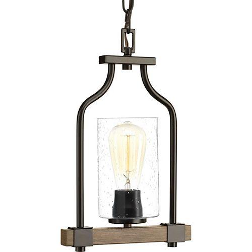 Progress Lighting Luminaire suspendu à 1 lumière, collection Barnes Mill - fini bronze antique
