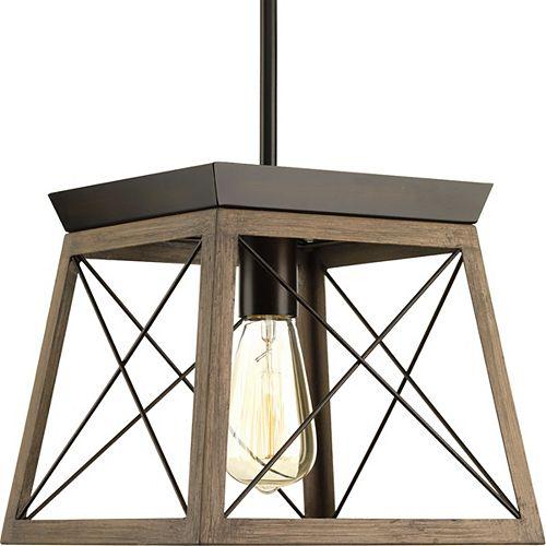 Luminaire suspendu à 1 lumière, collection Briarwood - fini bronze antique