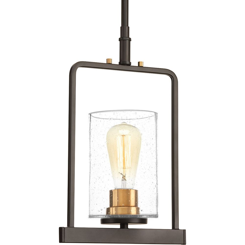 Progress Lighting Luminaire suspendu à 1 lumière, collection Looking Glass - fini bronze antique
