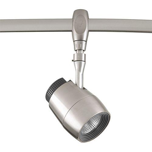 Tête d'éclairage pour rail à 1 lumière, collection Flex Track DEL - fini nickel brossé