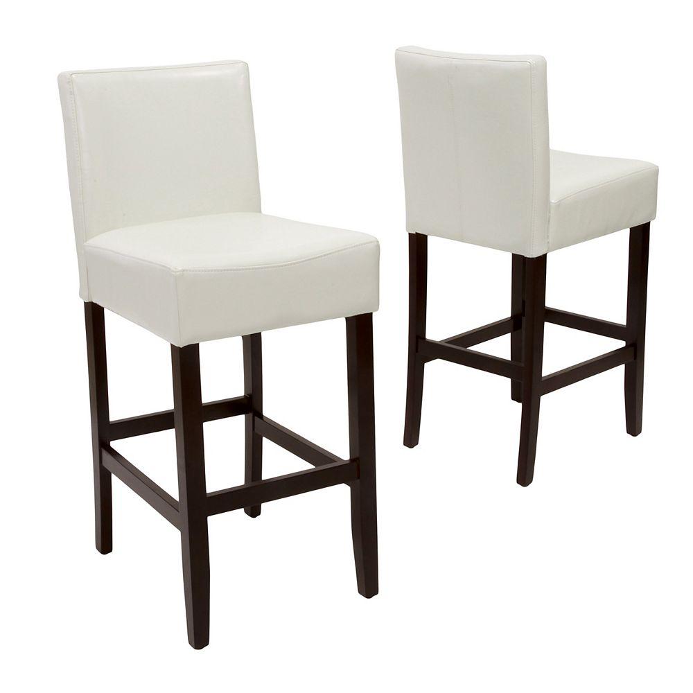 Great Deal Furniture Tabourets de bar en cuir et bois ivoire Lopez (Lot de 2)