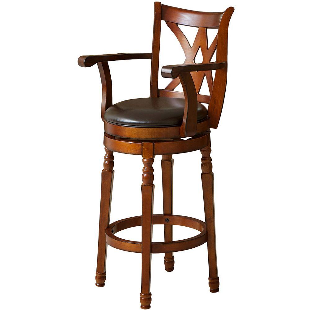 Great Deal Furniture Tabouret pivotant brun avec appuie-bras Eclipse