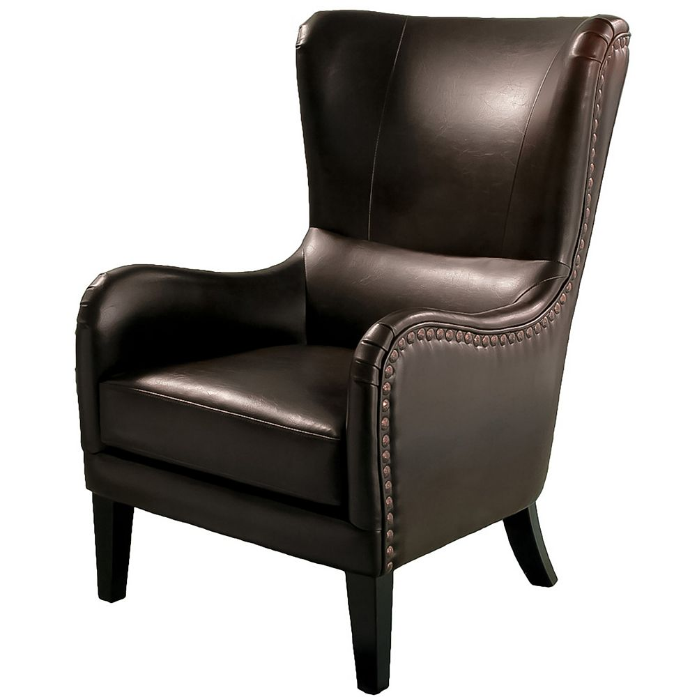 Great Deal Furniture Lazlo Bonded Leather Studded Club Chair