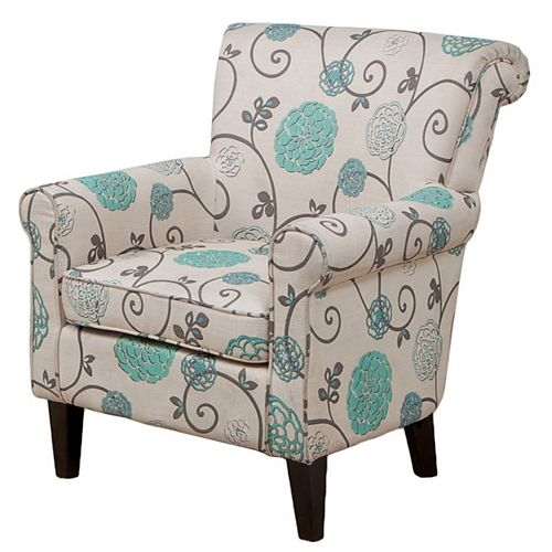 Roseville Fabric Floral Club Chair