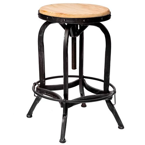 Dempsey Adjustable Natural Oak Wood Finish Barstool