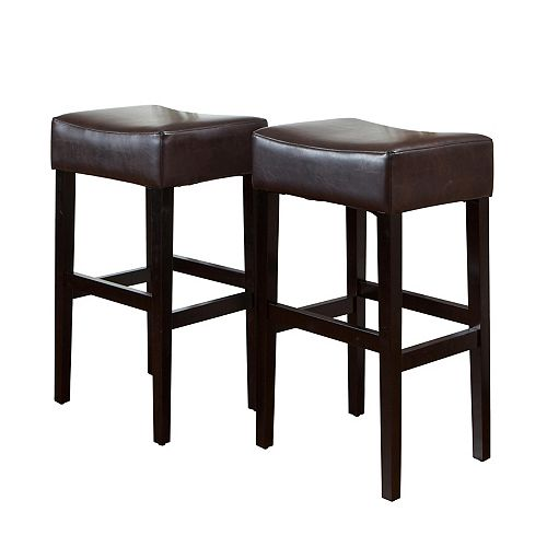 Lopez Brown Leather Backless Bar Stools (Set of 2)