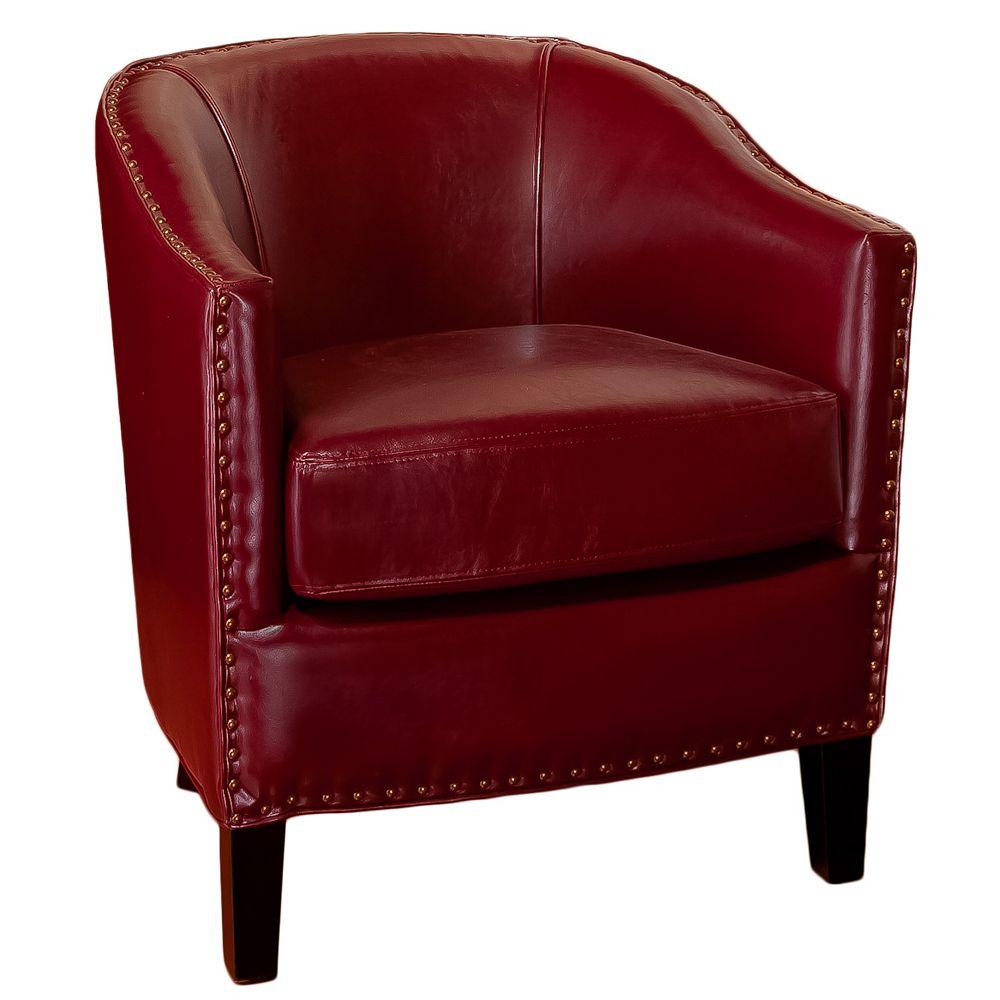 Great Deal Furniture Fauteuil club en cuir rouge foncé Austin