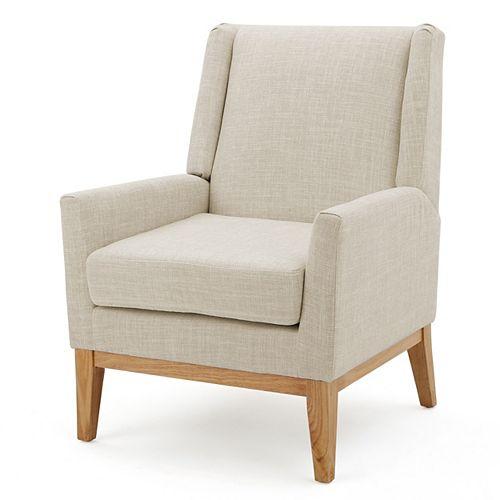 Aurla Beige Fabric Accent Chair