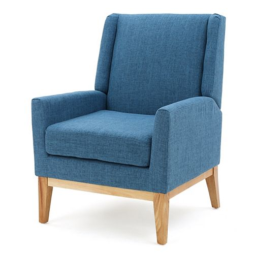Aurla Muted Blue Fabric Accent Chair