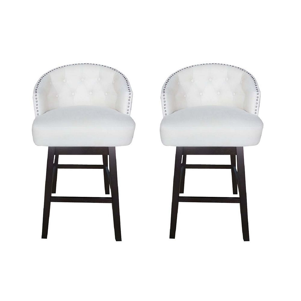 Great Deal Furniture Mason Fabric Tufted Back Barstool (Set of 2)