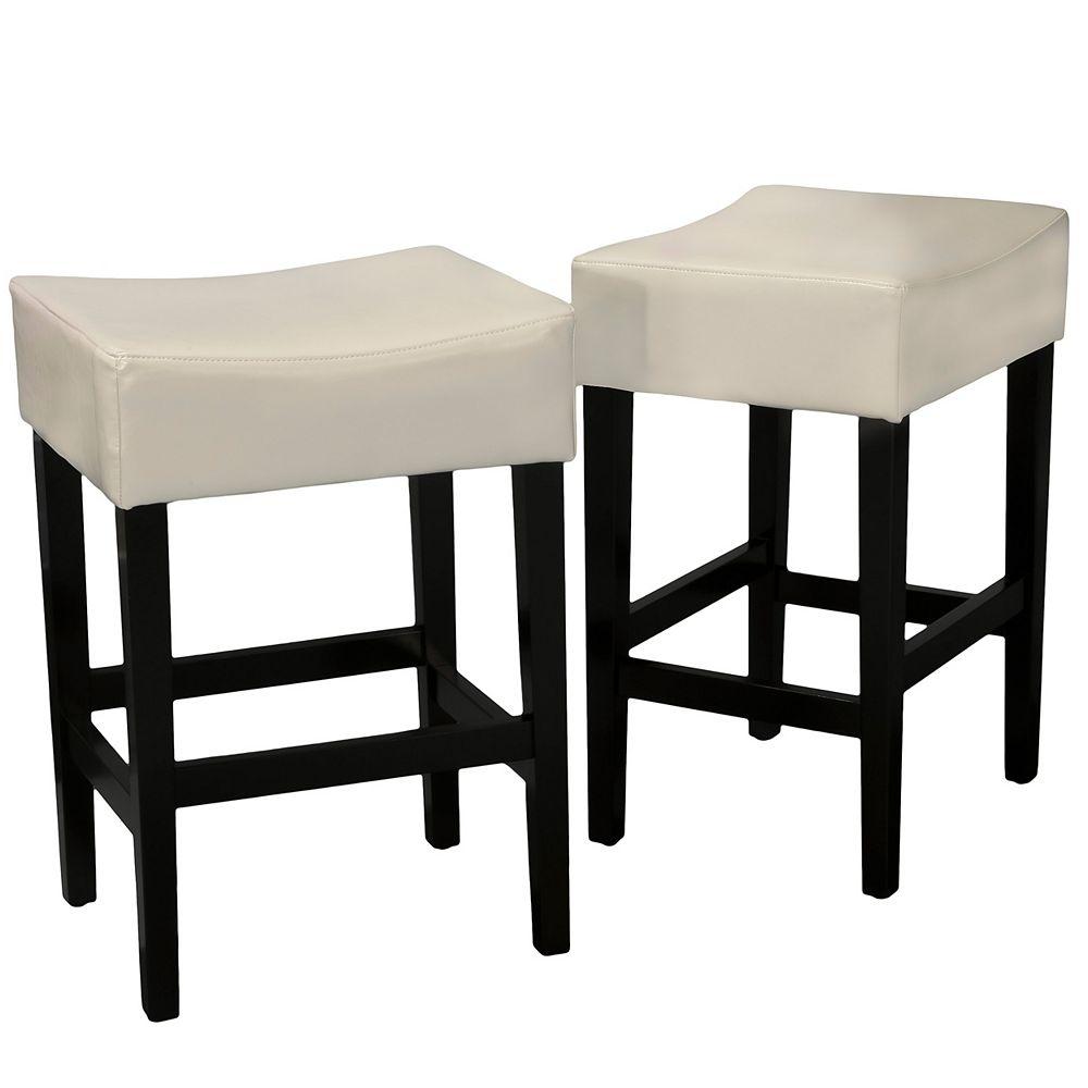 Great Deal Furniture Tabourets sans dossier en cuir ivoire de marque Layla (Lot de 2)